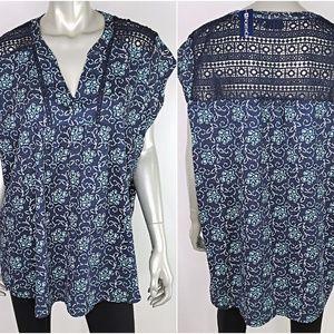 Northcrest Womens Blue Crochet Top Plus Size 2X
